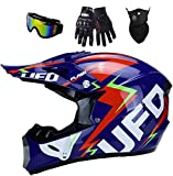 OMAORST Casco de moto para adultos y niños, con gafas, UFO, casco completo de carreras, de montaña, todoterreno, con guantes, color azul oscuro, talla XL