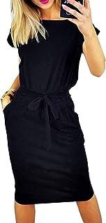 72169cb3 ECHOINE Women's Plain Office Work Dress Long Sleeve Sexy Slit Maxi Long  Wrap Dress with Belt