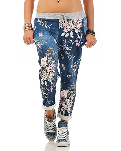 Zarmexx Damen Sweatpants Baggy Hose Boyfriend Freizeithose Sporthose All-Over Roses Print One Size (jeans1, One Size)