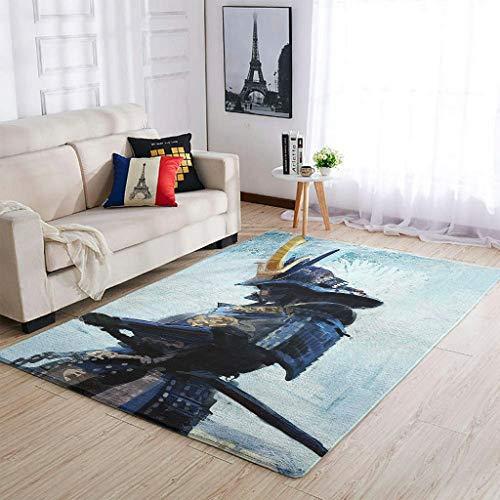 Hothotvery Moderna alfombra japonesa con diseño de espada guerrera (122 x 183 cm), color blanco