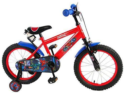 Bici Bicicletta Uomo Ragno Spiderman 16 Pollici con Freno Anteriore al Manubrio e Posteriore Contropedale Rosso