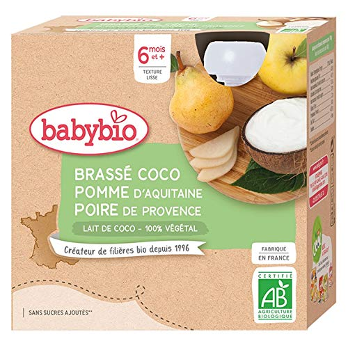 Babybio Brassés Végétaux - Gourdes Lait de Coco Pomme Poire 4x85 g - 6+ Mois - BIO