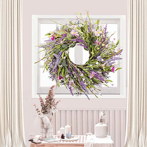 WANNA-CUL 22 inch Spring Artificial Lavender Flower Wreath for Front Door ,Purple Floral Door Wreath with Daisy and Green Leaves for Wedding, Wall, Home Decorations