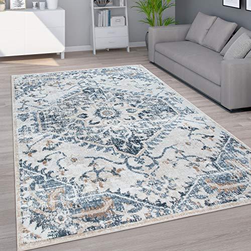Paco Home Teppich Wohnzimmer Kurzflor Vintage Orientalisches Muster Modern Beige Blau Grau, Grösse:120x160 cm