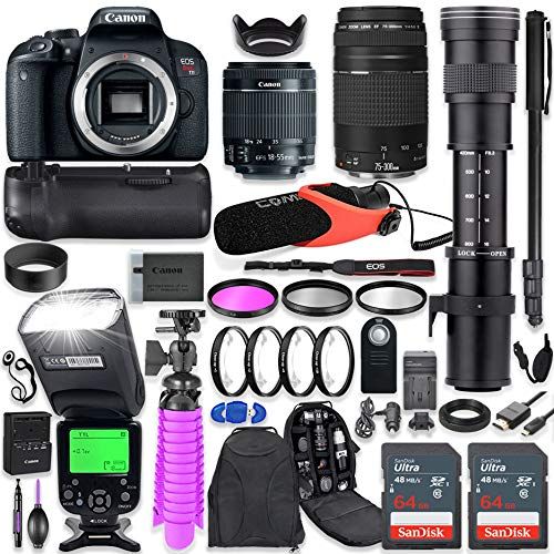 Canon EOS Rebel T7i DSLR Camera Kit with Canon 18-55mm & 75-300mm Lenses + 420-800mm Telephoto Zoom Lens + Battery Grip + TTL Flash (Upto 180 Ft) + Comica Microphone + 128GB Memory + Accessory Bundle