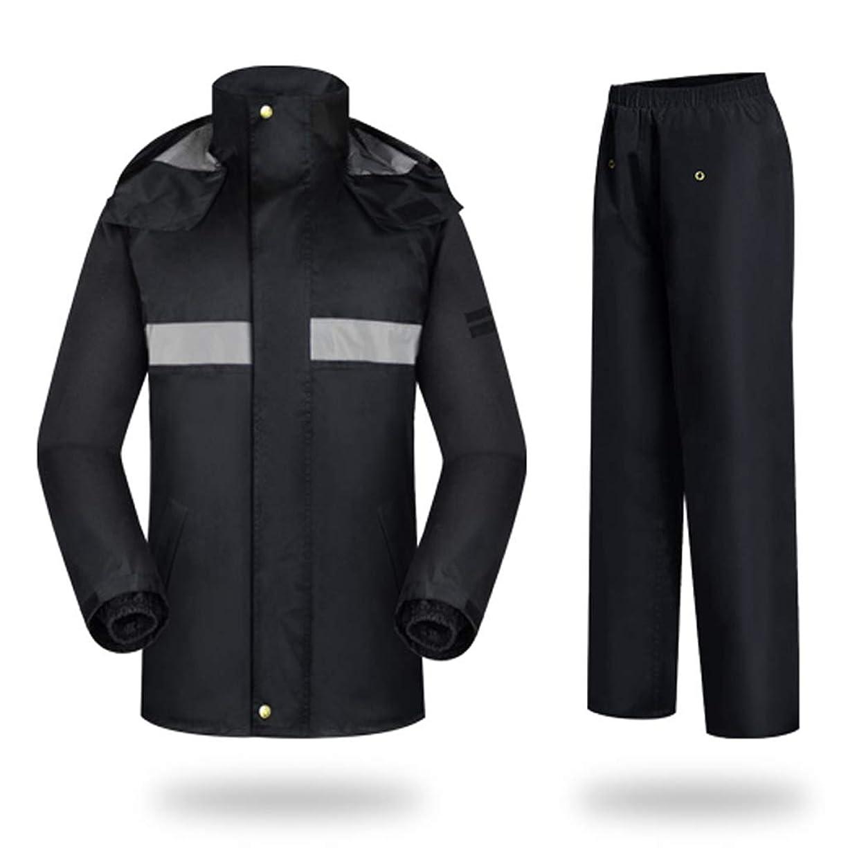 売るホップビルマYXF-レインコート バックパッキングのための反射性のストリップが付いている通気性の雨のスーツの大きいレインコートの防水レインウェアキャンプの屋外の仕事(ズボンとのレインジャケット) レインコート