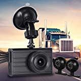 Vsysto Dash cam Backup Camera (1080P+VGA+VGA) 3CH Waterproof Lens for Truck/Bus/Trailer/Cars/Tractor/Van/RV DVR Recording System with G-Sensor, Loop Recording (Infrared Night Vision)