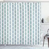 ABAKUHAUS Azul Cortina de Baño, Vintage 60s Cadena Ronda, Material Resistente al Agua Durable Estampa Digital, 175 x 200 cm, Baby Blue and White