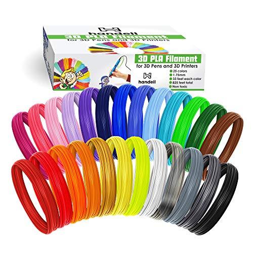 Filamento 3D Pen Filamento - Filamento PLA 1,75 mm | 25 colori, 20 colori solidi + 5 fluorescenti/trasparenti, 33 ft ciascuno, 825 piedi total, 25