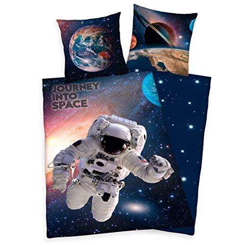 Klaus Herding GmbH Astronaut Bettwäsche Cosmonaut Weltraum Space Erde Mond Sonne Pluto Jupiter Sterne Sonnensystem Weltall 135 x 200 cm Geschenk NEU Wow - All-In-One-Outlet-24 -