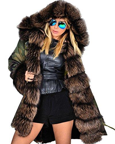 Roiii Women Hoodies Parka Jacket Thick Winter Coat Long Cardigan Plus Size S-XXXL (Small,201718 Braun)