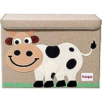 TsingLe - Baúl de almacenamiento con tapa, tamaño grande, de tela, para guardar juguetes, libros y ropa de cama, 36 x 52 x 35 cm, 65 L