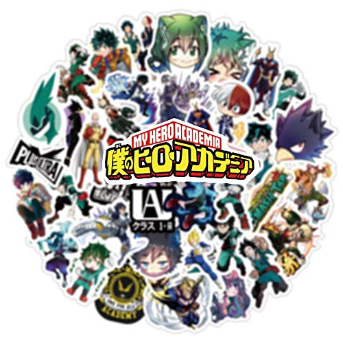 Pegatinas Kawaii para Ordenador portátil 50 Piezas My Hero Academia Japón Anime Adultos Pegatinaspara monopatín Izuku Midoriya Might Boku No Hero Academia
