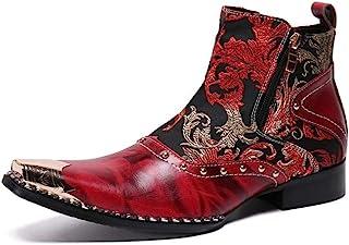 Bottes de Cuir pour Homme Style Cowboy Bottines de Moto Rouge Rock Punk Renegade Boots en Métal Bout Pointu