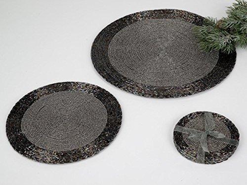 Untersetzer 10cm für Gläser, Platzset, mit Perlen, schwarz silber, FORMANO, 507327