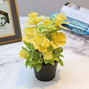 Silk Flower Arrangements XISENOCI Fashional Simulation Artificial Begonia Flower Potted Plants Realistic Fake Bonsai, Perfect for Decorating Home, Office, Coffee House Yellow