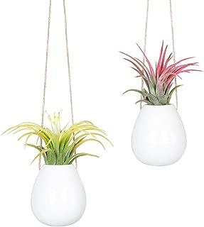 Mkono 2 Pack Small Hanging Pot Ceramic Plant Planter Decorative Flower Vase