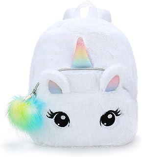 Unicornio Mochila niñas Mochila Infantiles niños de Peluche Lindo Arco Iris Suave Mochila Mini Unicornio niño Estudiante Viajes (Blanco)