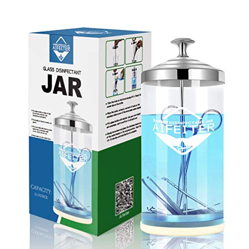 barber sanitizing jar(Glass thickened style)-Barber Disinfectant Jar with Tray 30 Oz,Comb Disinfectant Jar,Glass Disinfecting Jar for Nail Tools and Barber Supplies & Spa Implements