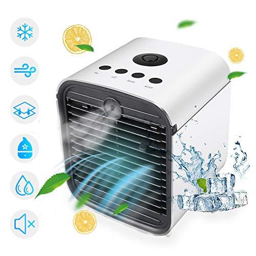 Persönlicher Luftkühler, tragbarer 4-in-1-Mini-USB-Klimaanlagenlüfter, Desktop-Raumkühler, Luftbefeuchter und Luftreiniger mit 3 Geschwindigkeiten, 7 LED-Nachtlicht für Heimraumbüro