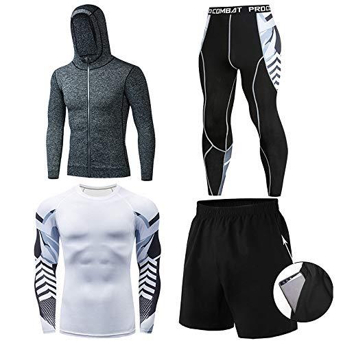 GHQYP Ropa De Running,Chandal Completo Poliester Hombre,Mallas de Baloncesto de Cuatro Piezas Traje de Entrenamiento de Invierno,Style9,Men-M