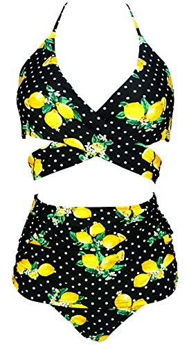 COCOSHIP Black White Polka Dot amp Orange Yellow Lemon Shirred High Waist Bikini Set Cross Tie Back Beach Cruise Swimwear 6