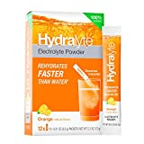 Hydralyte Electrolyte All Natural Hydration Powder Sticks, Instant Dissolve, Orange, 12 Count