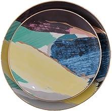 أطباق زبدة نمط الشمال الذهبي السيراميك الغربي طبق حلوى بانيون طبق طبق سلطة مسطحة لوحة بنوم بن الغربية مجموعة من قطعتين أدو...