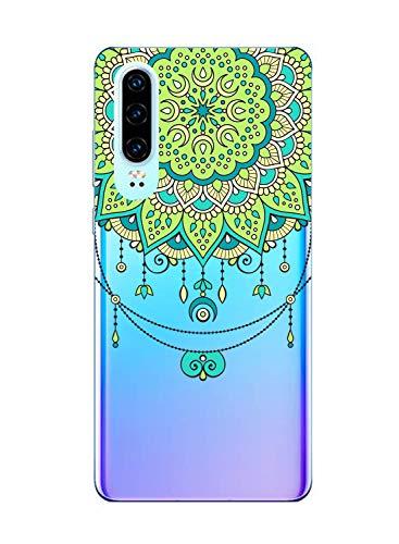 Suhctup Coque Compatible pour Huawei P10 Lite,Transparent en Silicone TPU Souple Etui,Ultra Fin Anti Choc Housse Couverture Bumper Housse de Protection pour Huawei P10 Lite,Vert