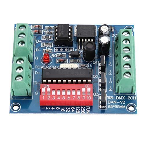 Fdit Decoder-Controller WS-DMX-3CH-BAN-V1 3-Kanal-LED DMX512 Decoder-Controller DC5-24V für LED-Streifen
