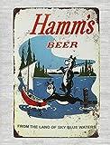 DYTrade Tin Metal Sign 16 x 12 - Outdoor Metal Signs Hamms Beer Bear Fishing Lake Boat tin Metal Sign