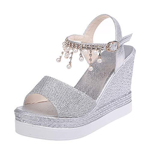 HYWL Sandalias de Plataforma cómodas para Mujer Sandalias de tacón de cuña de Playa Sandalias Transpirables Verano Cuña Sandalias Cómodos Casual Zapatos de Playa,Plata,40