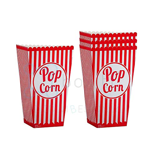 Striped Movie Theater Popcorn Bags - 25 Pack Paper Red Popcorn Boxes - Retro Box Pop Corn Design Candy Container Party Food Favor for Birthdays and Carnival Parties