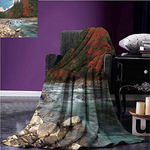 Mannwarehouse Nature Baby Blanket Flannel Throw Blanket Mountain River Autumn Time Super Soft Reversible for Bedding W90 xL60