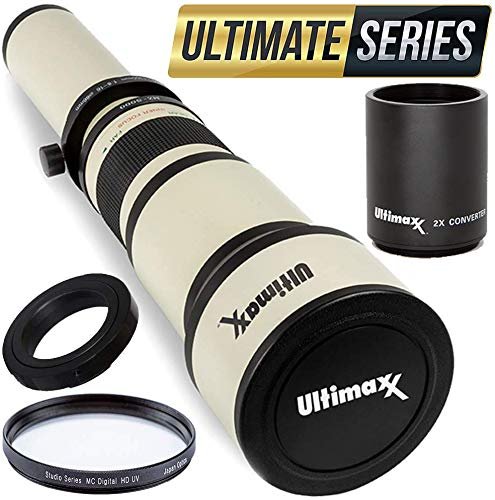 Ultimaxx 650-1300mm (1300-2600 w/ 2X Converter) Telephoto Zoom Lens Set for Nikon D7500, D500, D600, D610, D700, D750, D800, D810, D850, D3100, D3200, D3300, D3400, D5100, D5200, D5300, D5500