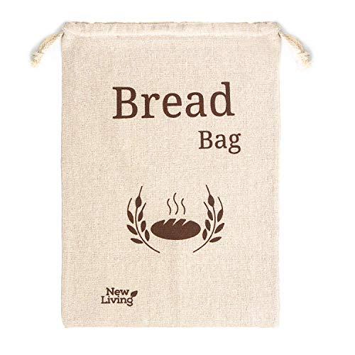 New Living Sac à pain, lin bio extra large 44 x 35 cm| 1 x sac à pain réutilisable | sac de rangement de nourriture | sacs de stockage de pain