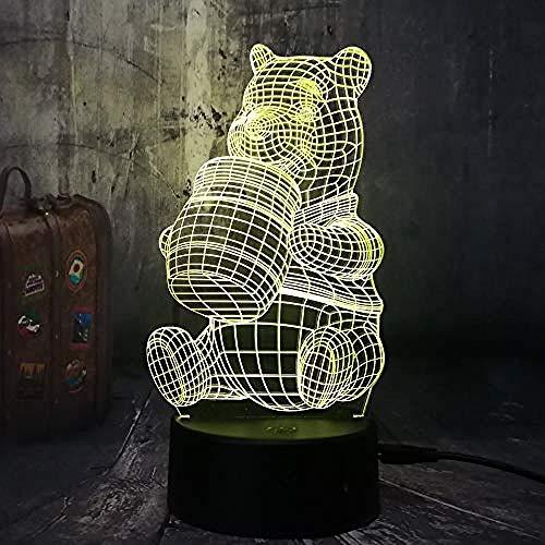 3D Nachtlicht 3D süße Honig Winnie Bär Led Nacht Glühbirne Dekoration Lichter Kid Geschenk Cartoon Neuheit Atmosphäre Touch Stimmung Tischlampe Lava