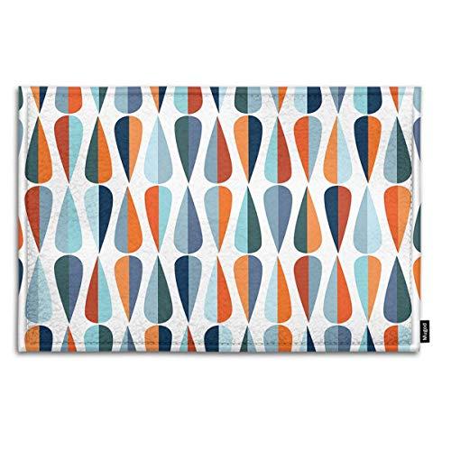 Mugod Drop Shapes Indoor/Outdoor Doormat Mid-Century Modern Style Drop Shapes in Tones Funny Doormats Bathroom Kitchen Decor Area Rug Non Slip Entrance Door Floor Mats, 18' X 30'