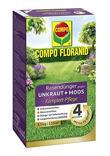 COMPO FLORANID Rasendünger gegen Unkraut+Moos Komplett-Pflege, 3 Monate Langzeitwirkung, Feingranulat, 3,3 kg, 110 m²
