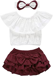 OUTGLE Baby Girl Outfits Set Toddler Girl Off Shoulder Top + Tutu Bloomers + Headband Summer Clothes White …