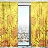 Mnsruu - Cortinas de Gasa para salón, Dormitorio, Ventana, 140 x 198 cm, 2 Paneles, Color Amarillo