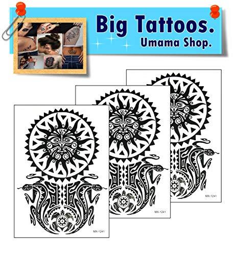 Umama Big Tattoos 3 Sheets Crescent Moon Over Sun God Tattoo Fake Template 3D Yin Yang Tao Dao Chinese Removable Waterproof Temporary Tattoo Arm Leg Body Art Sticker for Men Women