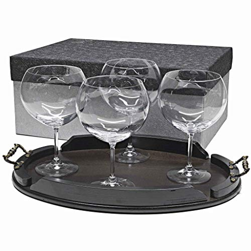 la galaica Set de 4 Verres à Gin&Tonic en Cristal + Plateau en Bois Couleur wenge Ovale - Collection 000.