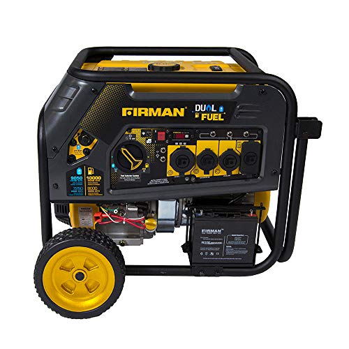 10000/8000 Watt 120/240V 30/50A Electric Start Gas or Propane Dual Fuel Portable Generator CARB Certified - FIRMAN H08051