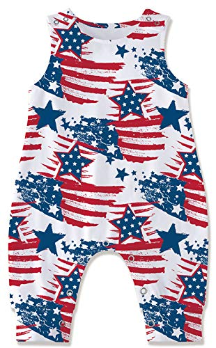 Kids4ever 4th of July Baby Boy Outfit 9 6-12months Newborn Unisex Summer Party Clothes Toddler Girl White Stripe Print Infant Romper Round Neck Cotton Soft Pajamas for Spring Autumn 1t 2t Photoshoot