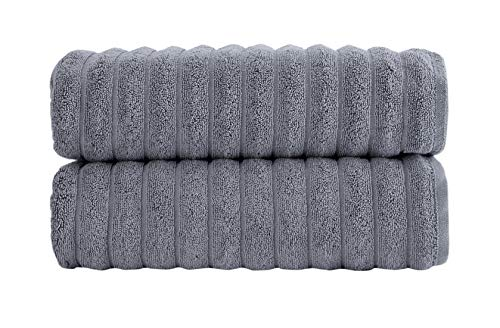 Classic Turkish Towels Luxury Bath Towel Sets - Soft and Thick Oversized Bathroom Towels Made with 100% Turkish Cotton (27X54 Bath Towels, Grey)