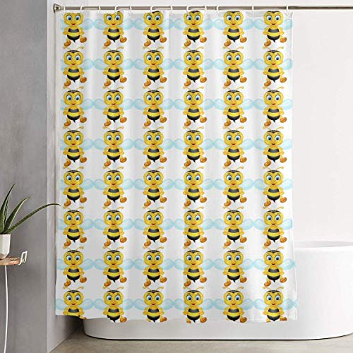 wanshangcheng Bathroom Decorative Shower Curtain Included 12 Hooks Cartoon Flying Honey Bees Yellow White - Shower Curtains Easy Care Bath Curtain Durable Waterproof Bathroom Curtain 66x72 Inch