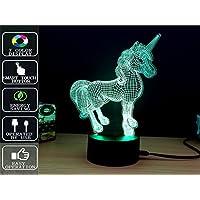 Fipart 3Dビジュアル LEDナイトライト 夜灯 スタンドライト 装飾ランプ 7種の色 個性的 三次元視覚化 面白い スイッチ付 プラグ付き ファンタジー ロマンチック USB給電 節電 インテリアに最適 プレゼント ギフト 贈り物 誕生日(ユニコーン)