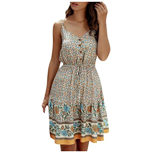 Buy Discount Women Summer Casual Dress Floral Spaghetti Strap V Neck Boho Button Backless Swing Mini...