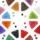 Over 3000 PCS 6/0 Glass Seed Beads for Jewelry Making Adults, 16 Assorted Colors w/ 2 Bead Organizer Containers, Beads for Bracelets, Necklaces, Crafts & Embroidery, Small Beads for Crafting